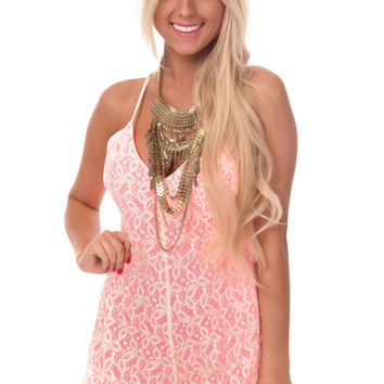 Cream Lace Romper with Neon Pink Lining
