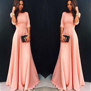 Pink Three-quarter Sleeve Prom Dress One Piece Dress [6343421761]