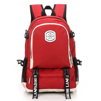 Unisex Outdoor Sports Travel Cavans Backpack Daypack Red
