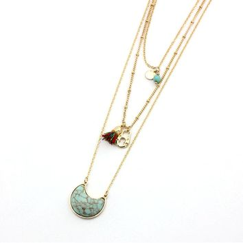 Summer Style White Green Stone Long Necklace For Women 2017 New Design Vintage Multi-Layer Necklaces Pendants Sne160093