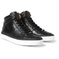 Jimmy Choo - Belgravia Crocodile-Embossed Leather High Top Sneakers | MR PORTER