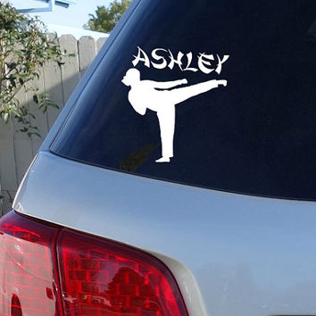 Karate Car Window Decal w/ Name | Taekwondo Car Decal | Proud Parent Decal