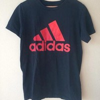 SMALL Adidas T-Shirt Black and Red // Adidas Trefoil Logo T-Shirt // Basic Adidas Tee