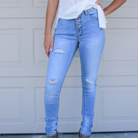 Naples Pier Light Skinny Jeans With Released Hem