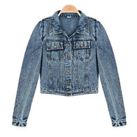 Kellie Shrug Lapel Long Sleeve Short Style Denim Coat
