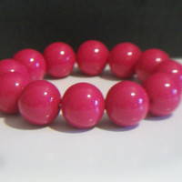 Hot Pink Gumball Stretch Bracelet Chunky Beaded Costume Jewelry Rockabilly Baubles