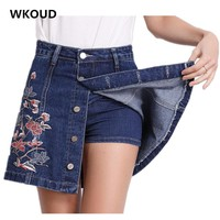 WKOUD 2017 Two Pieces In One Denim Skirt Women Floral Embroidery 5 Button Mini Skirts Jeans Shorts For Women Skirt Shorts DK6019