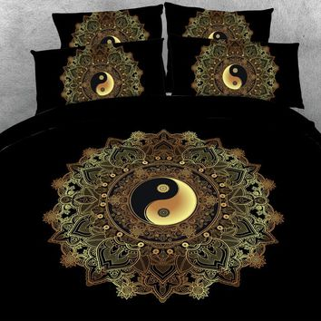 Royal Linen Source Stunning Yin and Yang Mandala on Starry Night sky  3d Bed Set