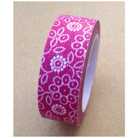 Washi Tape - White florals on hot pink 11yards WT533