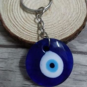 HOT SELL! 25mm key ring 30mm Lucky Turkish Greek Blue Evil Eye Charm Pendant  Keychain 10Pcs D511