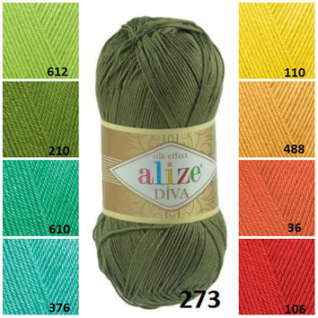 Alize Diva, Crochet yarn, Microfiber acrylic yarn, Crochet dress, Knitting supplies, Crochet top, Summer yarn, Baby clothes, Vibrant colours