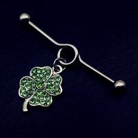green clover lucky Industrial Barbell tragus Cartilage dangle Ear Piercing Jewelry 1pcs New Stainless Steel 14G