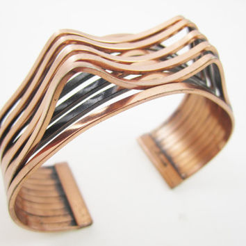 RENOIR Cuff Copper Bracelet Large Chunky Boho Chic Bohemian Retro Statement Runway Signed Designer Jewelry