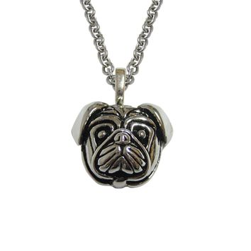 Pug Dog Head Pendant Necklace