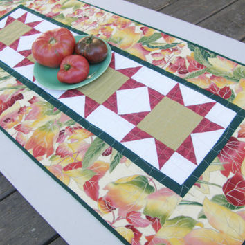 Autumn Table Runner - Fall Colors and Stars