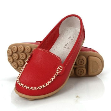 Flat Loafers Women Genuine Leather Driving shoes New Moccasins Women's Soft Leisure Female Tendon Sole Shoes US5-10 [8833996748]