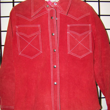 Vintage Women's Red Suede Leather Jacket, size 7, Country Western Style, Center Metal snaps, Pointed Collar, Lined Interior, Retro Clothing