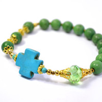 Green Turquoise Prayer Beads, Rosary Bracelet, Blue Cross, Semi Precious Gemstones with Gold Colored Accents.