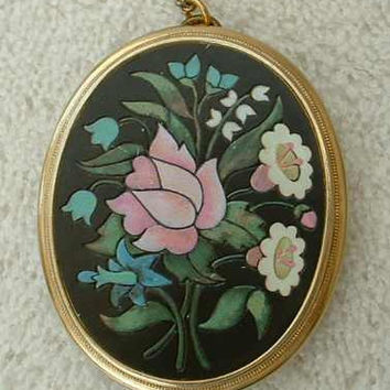 Avon Mosaic Style Enameled Pendant Necklace Book Piece Vintage Jewelry