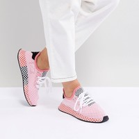 adidas Originals Deerupt Runner Sneakers In Pink And Red at asos.com