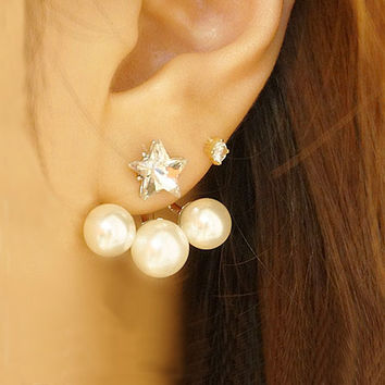 Star and Pearls Wrapping Ear Cuffs - LilyFair Jewelry
