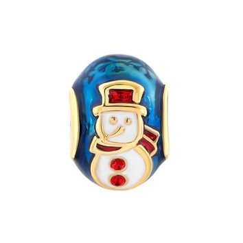 Snowman Charm Christmas Winter Bead Charm for Snake Chain Charm Bracelet