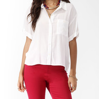 Cuffed High-Low Shirt