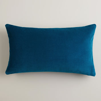 Night Blue Velvet Lumbar Pillow - World Market