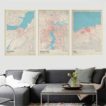 World City Map Inverness  Scotland Jacksonville  US Jeju  South Korea  Living Room Wall Art Picture Home Decor Canvas Painting
