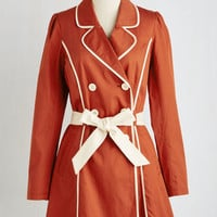 Menswear Inspired Long Long Sleeve Double Breasted East Coast Tour Coat in Paprika