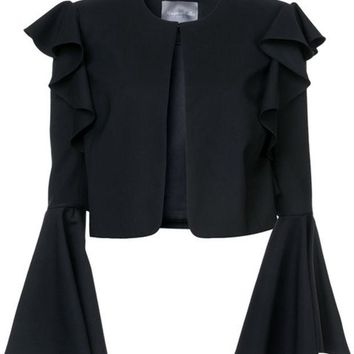 DCCKIN3 Monique Lhuillier Cropped Bell Sleeved Jacket