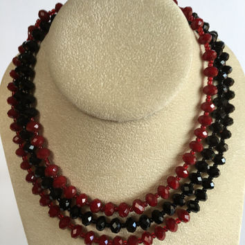 Vintage Bead Necklace - Black and Red Faceted Bead Classic Long Vintage Necklace  Flapper Necklace