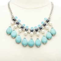 Pearl, Bead & Turquoise Statement Necklace