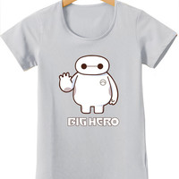 Grey Baymax Print Short Sleeve Graphic T-Shirt
