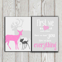 Pink gray Nursery art poster print Printable Deer family Baby shower gift Little girl bedroom decor First we had each other INSTANT DOWNLOAD