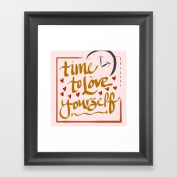 Time to Love Yourself Framed Art Print by aeontextiles