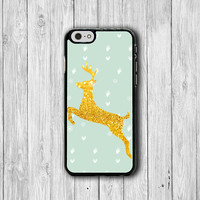 Deer Gold Green Mint Snowflake Phone 6 Cover Funny , Lovely Animal iPhone 6 Plus, iPhone 5S, iPhone 4S Hard Case, iPhone 5C Accessories Gift