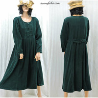 Vintage 70s green corduroy dress size M 1970s long sleeve cord prairie peasant  boho midi dress size 7 / 9 SunnyBohoVintage