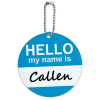 Callen Hello My Name Is Round ID Card Luggage Tag