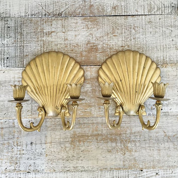 Wall Sconces Pair of Brass Shell Wall Candle Sconces Hollywood Regency Double Candle Holder Sconces Brass Seashell Candleholder