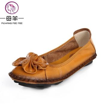 2017 Women Shoes Woman Genuine Leather Flat Shoes Fashion Hand-sewn Leather Loafers Fe
