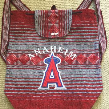 MLB LA Angels Baseball Backpack Woven Los Angeles Angels of ANAHEIM California