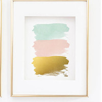 Abstract Wall Decor - Pink Mint Gold Wall Print - Abstract Wall art with three brush strokes - Faux Watercolor Print (1360)