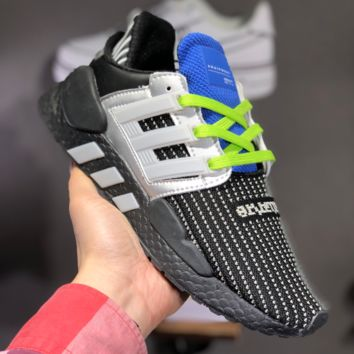 hcxx A1465 Adidas EQT Support 91 18 Flyknit Fashion Running Shoes Black