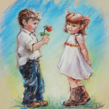 "Sweet boy and  girl, cute  couple, ""LOVE YOU"", fine Art print, heart children kids coy 8x10"