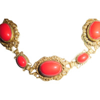 Antique Italian Gilded Red Coral Cabochon Glass Necklace