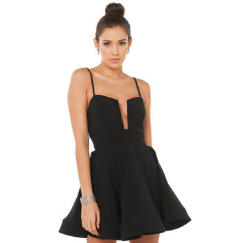 Black Chest Slotted Liner Skater Mini Dress with Adjustable Strap