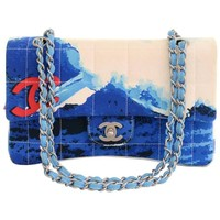 Chanel 2.55 Flap Blue x Red Canvas Surf Beach Shoulder Bag