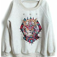 Light Grey Tiger Print Rivet Loose Sweatshirt S195