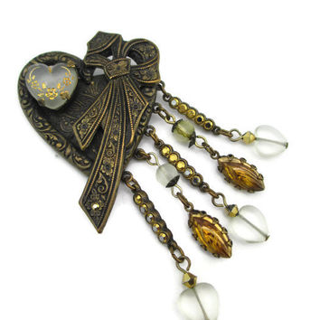 Large Vintage Banana Bob Oxidized Brass Swarovski Citrine Crystal Victorian  Frosted Heart Bow Pin